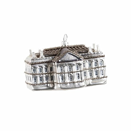 4.5″ Glitter Covered White House America Glass Christmas Ornament