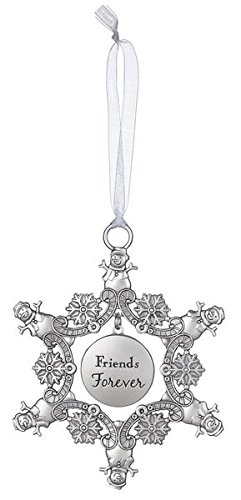 Friends Forever – Snowman Snowflake Sentiment Photo Ornament by Ganz