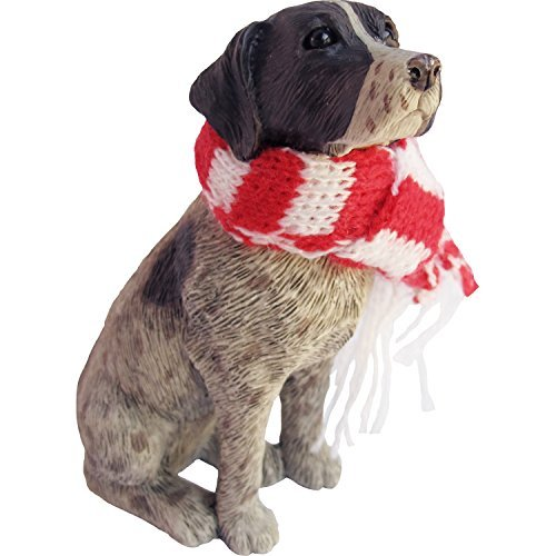 Sandicast German Shorthaired Pointer with Red and White Scarf Christmas Ornament Sandicast