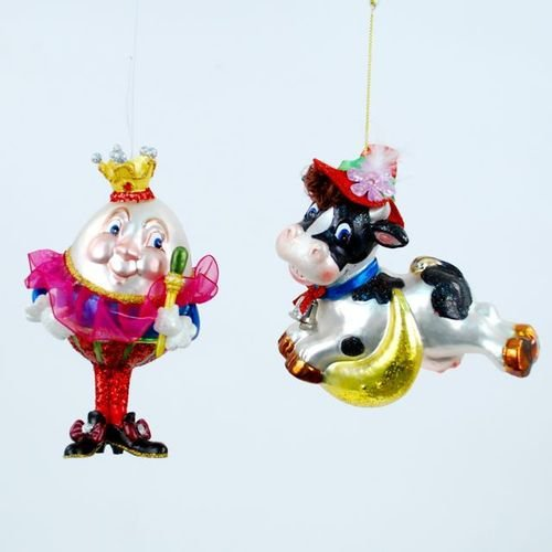 Nursery Rhyme Humpty Dumpty Cow Jumped Over Moon Christmas Ornament Set of 2