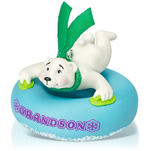Hallmark Keepsake Ornament Grandson Polar Bear in Snow Tube