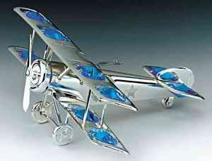 Airplane Silver Plate Swarovski Crystal Ornament Figure