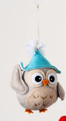 One Hundred 80 Degrees Fabric Owl Ornament, Choice of Styles (Owl Ornament-blue hat)