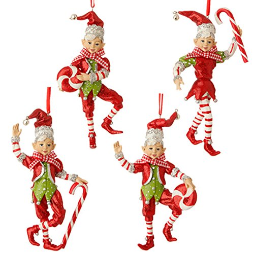 Glittered 5.5″ Peppermint & Candy Cane Elf Christmas Ornaments – Set of 4