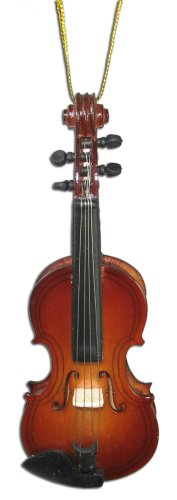Miniature Violin Christmas Ornament 4″