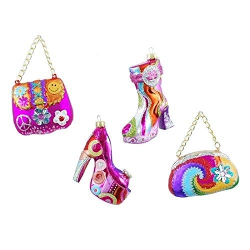 4″ 70s Hippy Glass Christmas Ornament Set 4 Purse Gogo Boot Platform Shoe