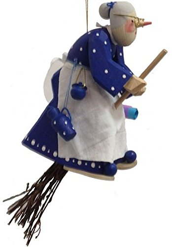 Blue Kitchen Witch Riding a Broom German Wood Halloween Ornament