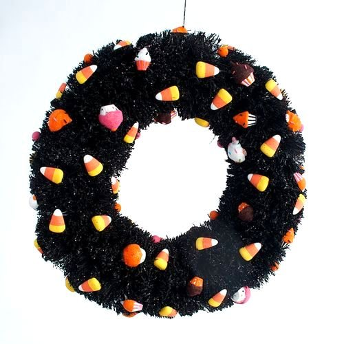 Gltterville Halloween Sisal Wreath with Cupcakes and Candy Corn Ornaments, 20 Inches, Black & Orange