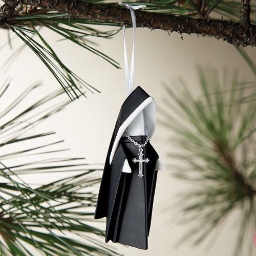 Christmas Porcelain Origami Nun Ornament with Cross, 3.75 Inches