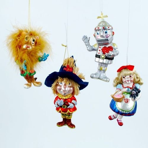 Storybook Girl Scarecrow Lion Tin Man Christmas Holiday Ornament Set of 4