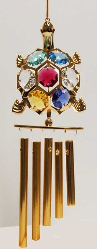 24K Gold Plated Wind Chime Sun Catcher or Ornament….. Turtle With Mixed Color Swarovski Austrian Crystal