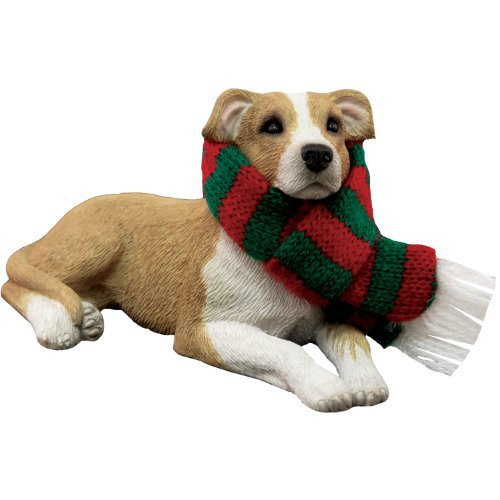 Sandicast Fawn Pit Bull Terrier with Red and Green Scarf Christmas Ornament by Sandicast