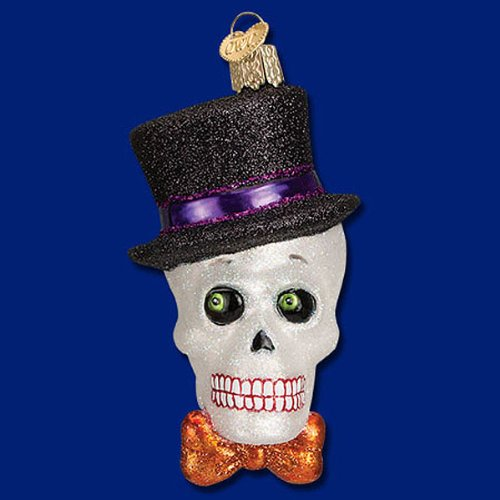 TOP HAT SKELETON Skull Gothic Glass Ornament Old World Christmas Halloween