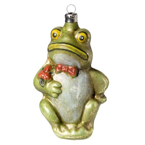 "Vintage mouthblown Christmas Glass ornament ""Frog with Bow Tie"" by MAROLIN® Germany"