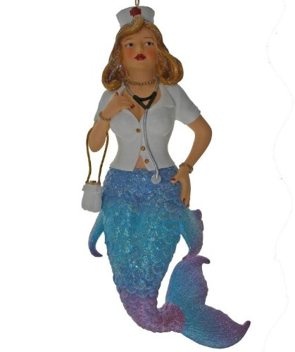 Nurse RN Mermaid Beauty Red Cross Holiday Ornament