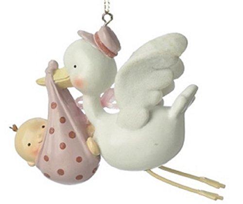 Baby Girl Stork Ornament