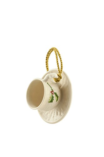 Belleek Holly Cup and Saucer Ornament