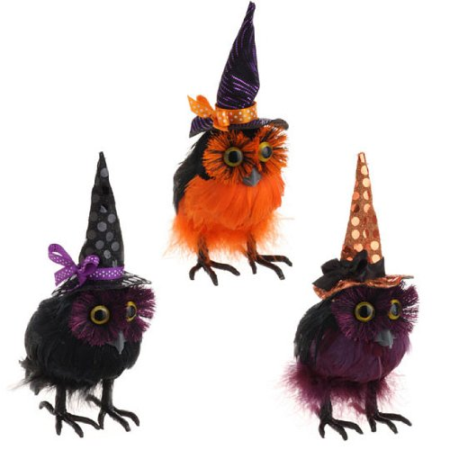 RAZ Imports – Fluffy Black Feathered Owls with Witches Hats