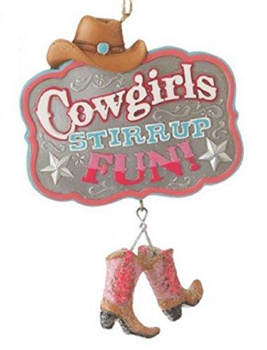 "Cowgirls ""Stirrup"" Fun Resin Christmas Ornament"