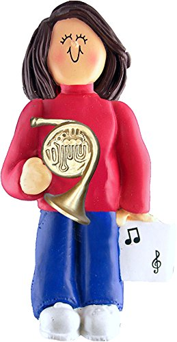Music Treasures Co. Female Musician French Horn Ornament – Brown