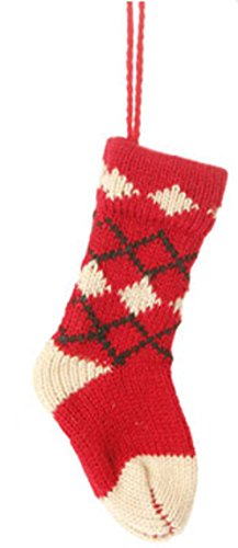 6.5″ Alpine Chic Red and Cream Nordic Diamond Pattern Knit Stocking Christmas Ornament