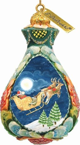 G. Debrekht Santa on Sleigh Ornament, 3″