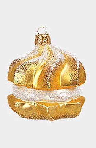 Cream Puff Dessert Polish Mouth Blown Glass Christmas Ornament