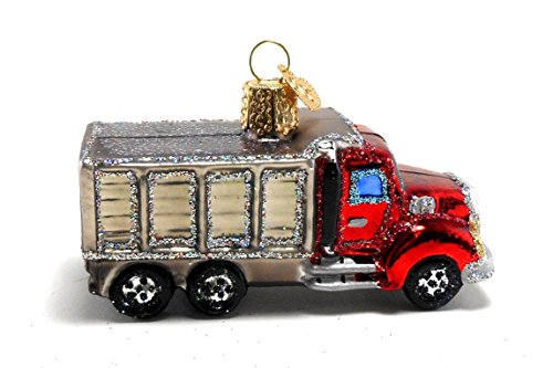 Old World Christmas Dump Truck Glass Ornament