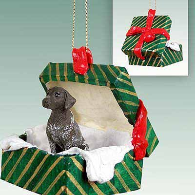 German Shorthair Pointer Green Gift Box Dog Ornament