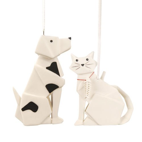 One Hundred 80 Degrees Porcelain Dog and Cat Ornament One or the Other Will Ship