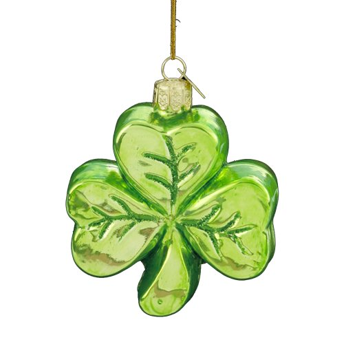 Kurt Adler 3-1/4-Inch Noble Gems Glass Shamrock Ornament