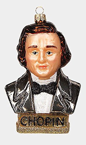 Chopin Musical Composer Bust Polish Mouth Blown Glass Christmas Ornament