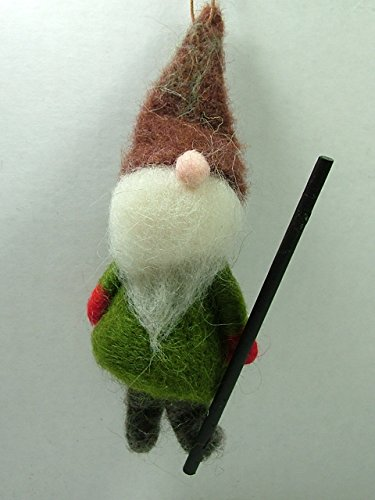 Garden Gnome Lawn Dwarf w/ Staff Christmas Ornament One Hundred 80 Degrees