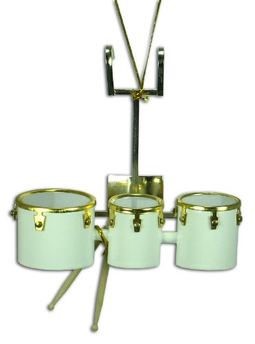 Miniature White Marching Drum Christmas Ornament