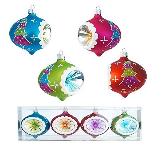Glitterville Set of 4: Glitter & Sprinkles Christmas Tree Reflector Ornament, 3 Inches, Teardrop Shape, Pink, Blue, Red, Lime Green