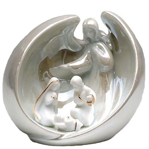 Appletree Design Angel with Holy Family Ornament, 3-Inch Tall, Christmas Tree Light Snugly Fits Into Ornament