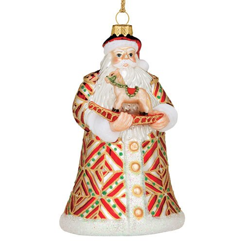 Waterford Holiday Marquis Glass Blown Ornaments Santa With Rocking Horse