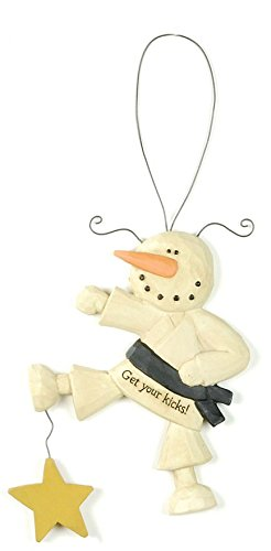 "Get Your Kicks"" Karate Snowman Christmas Ornament"