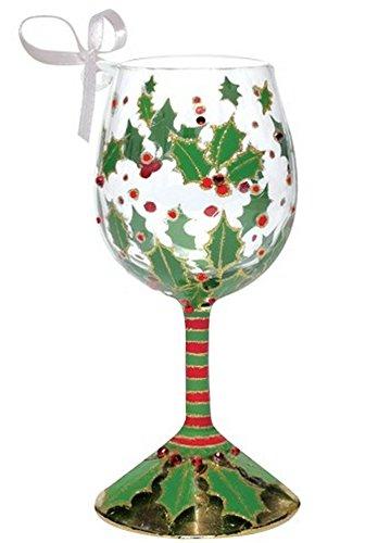 Santa Barbara Design Studio Lolita Holiday Holly Berry Wine Glass Ornament, Mini