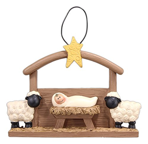 Blossom Bucket Baby Jesus in a Manger Ornament – 3″ Tall