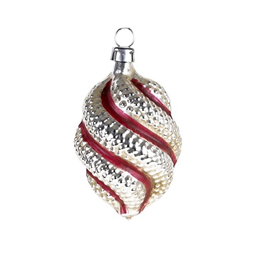 "Vintage mouthblown Christmas Glass ornament ""Olive with twist"" and red stripes by MAROLIN® Germany"