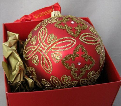 Beautiful Genuine WATERFORD Holiday Ornament ~ red Crimson Celtic Knot Balll # 153831