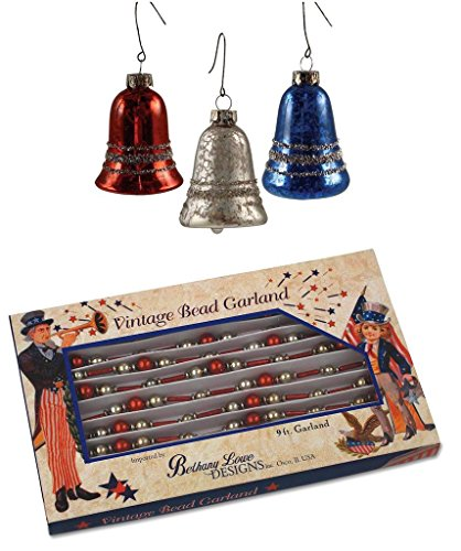 Bethany Lowe Americana Red Bugle Bead Garland & (3) Bell Ornaments Set
