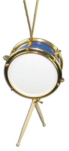 Miniature Blue Snare Drum Christmas Ornament 2″ X 1″