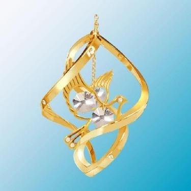 24K Gold Plated Dove Classic Spiral – Swarovski Crystal