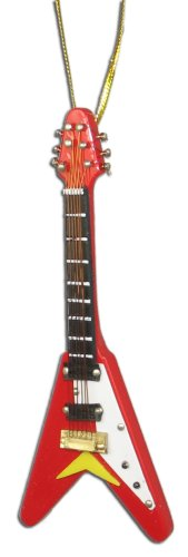 Miniature Red Flying V Electric Guitar Christmas Ornament 4″