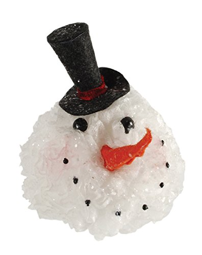 Blossom Bucket Lighted Snowman Head with Black Hat Ornament