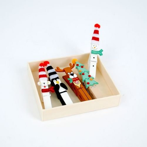 One Hundred 80 Degrees Christmas Clothespin Ornaments, Set of 5
