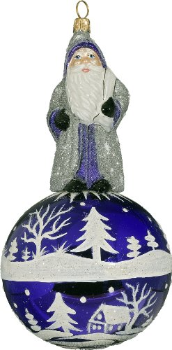 Ino Schaller Purple and Silver Alpine Santa Kugel Blown Glass Christmas Ornament by Joy To The World Collectibles