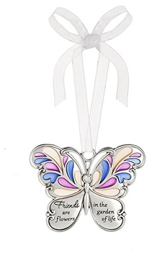 Ganz Butterfly Wishes Colored Ornament – Friends are flowers in the garden of life